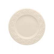 Conjunto 6 Pratos Sobremesa 20 cm Relevo Marfim Oxford