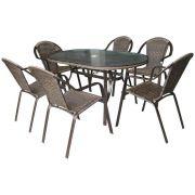 Conjunto Kalahari Mesa com 6 Cadeiras Para Jardim Mor