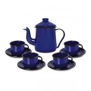 Conjunto para café Bule 1L Xícaras 120ml Esmaltado Azul Ewel