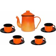 Conjunto para café Bule 1L Xícaras 120ml esmaltado laranja Ewel