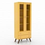 Cristaleira Retrô Amarelo 2 Portas em Vidro 2 Gavetas Movelbento