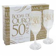 Kit 2 Taças Champagne Com Caixa Bodas de Ouro Simas