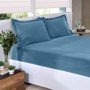 Lençol Slip Plush Casal 138x188 Azul Índigo Hedrons