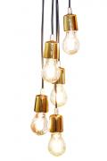 Luminária Nobili 5 Pendentes Cromado Dourado 1,20 mts Taiwer