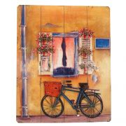 Placa Decorativa Bike Azul Madeira Metal 40x50cm Mabruk