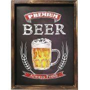 Placa Decorativa Madeira 30x40cm Premium Beer Mart
