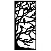 Quadro Metal Retangular Árvore Pássaros Preto Decorglass