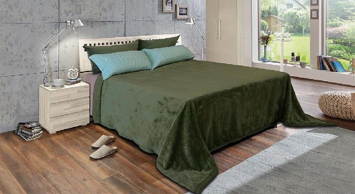 Cobertor Solteiro Microfibra Toque De Luxo Verde Europa