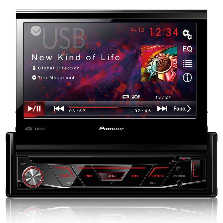 DVD Player Pioneer AVH-3880DVD 7 Polegadas Retrátil 1 Din USB AUX