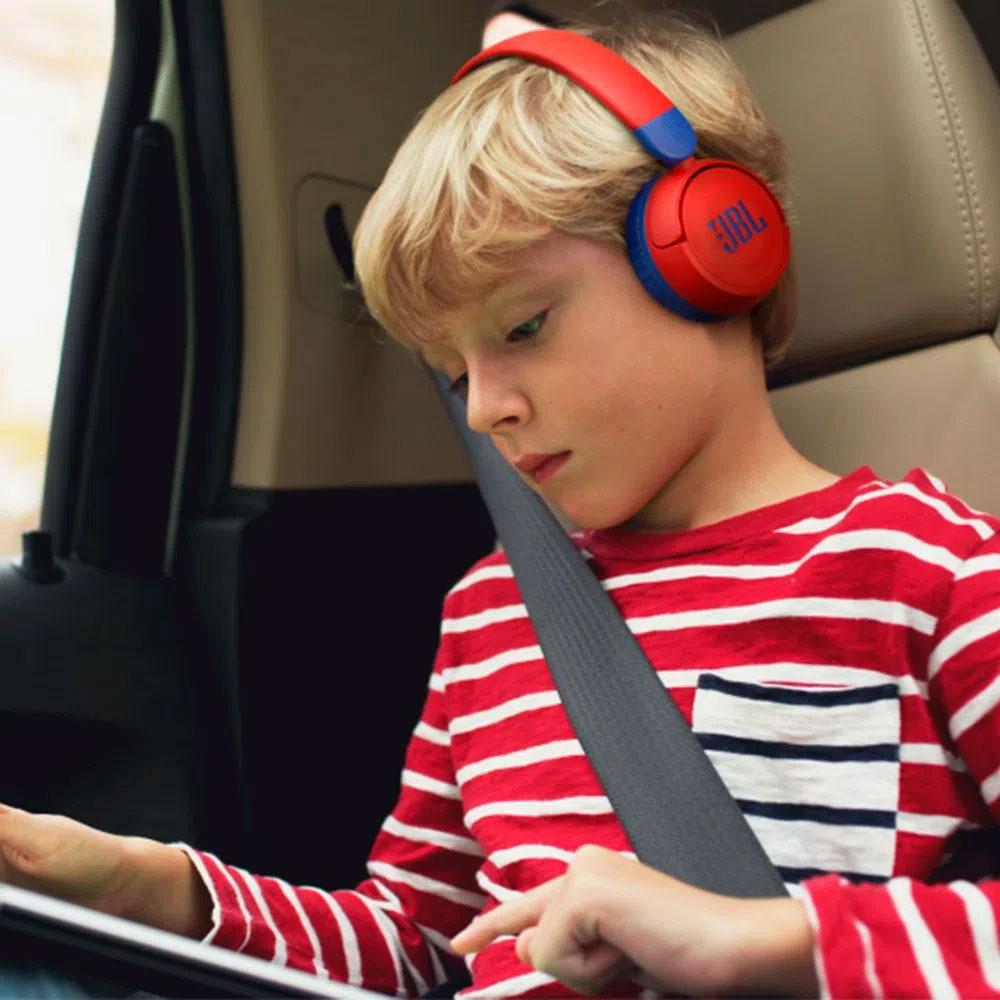 Fone de Ouvido JBL JR310BT Bluetooth Infantil Bateria 30 Horas - Vermelho