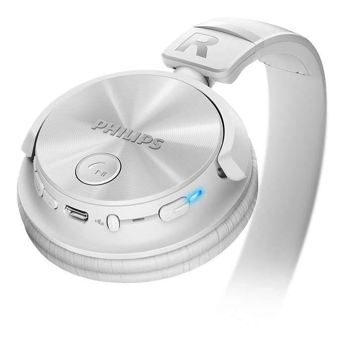 Fone de Ouvido Philips SHB3060WT com Haste Dobrável e Bluetooth
