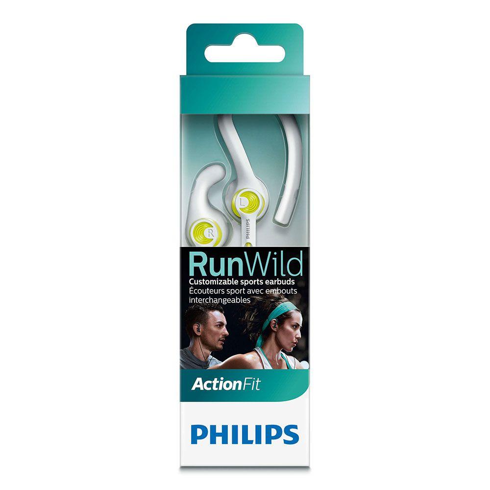 Fone de Ouvido Philips SHQ1400LF/00 ActionFit RunWild - Branco e Verde