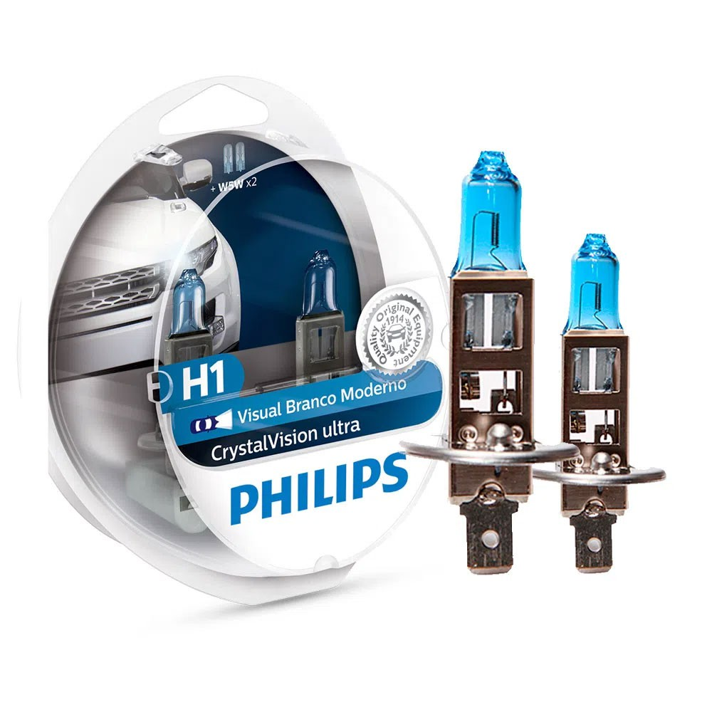 Lâmpada Philips Crystal Vision Ultra H1 4100K 12V 55W W5W - Par