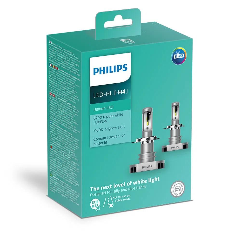 Lâmpada Philips H4 Led Ultinon 6200K 12V 15W - Par