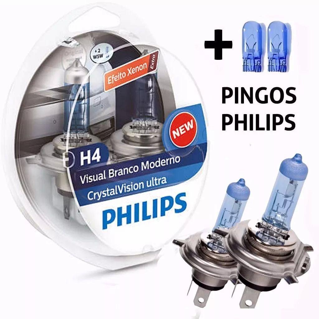 Lâmpada Philips Super Branca Crystal Vision Ultra H4 4300K 60/55W Efeito Xênon 12V