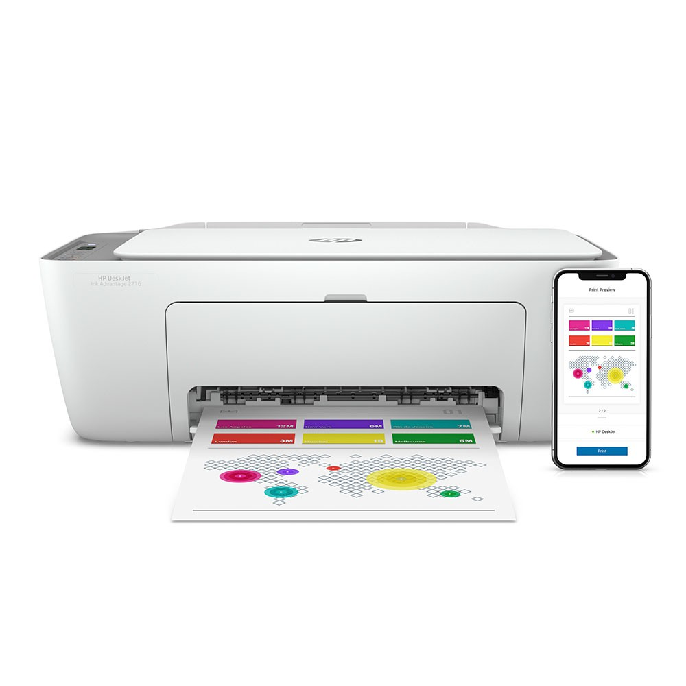 Multifuncional HP DeskJet Ink Advantage 2776, Jato de Tinta, Colorida, Wi-Fi, - Bivolt