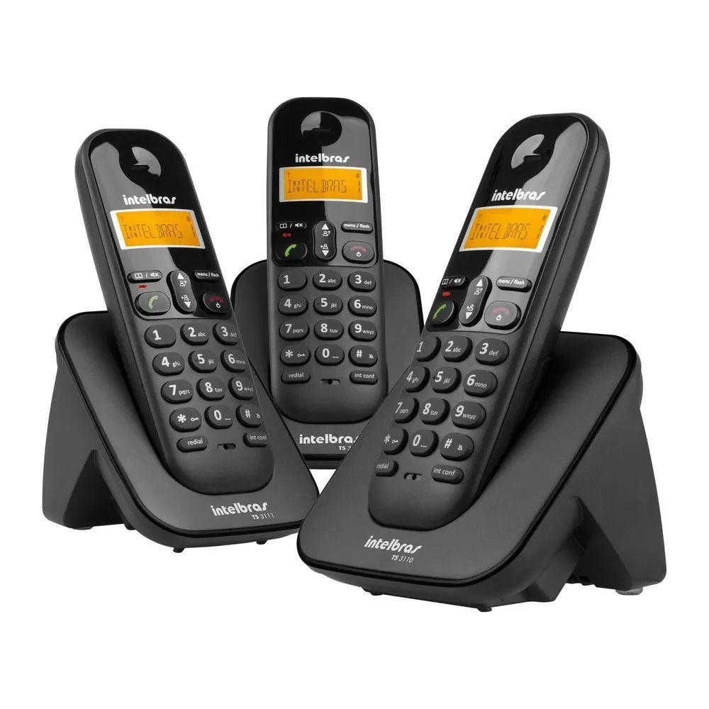 Telefone Intelbras TS3113 Sem Fio ID com 3 Ramais - Preto