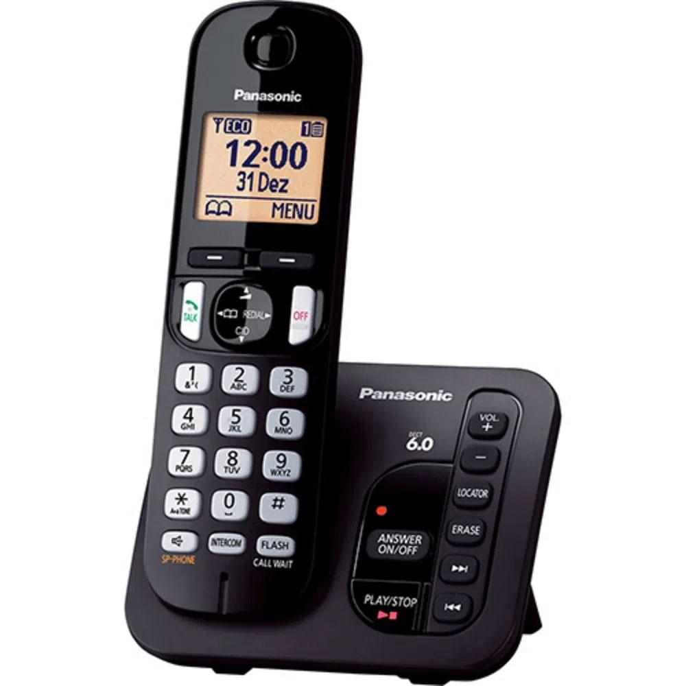 Telefone Sem Fio Panasonic KX-TGC220LBB com Secretária Eletrônica