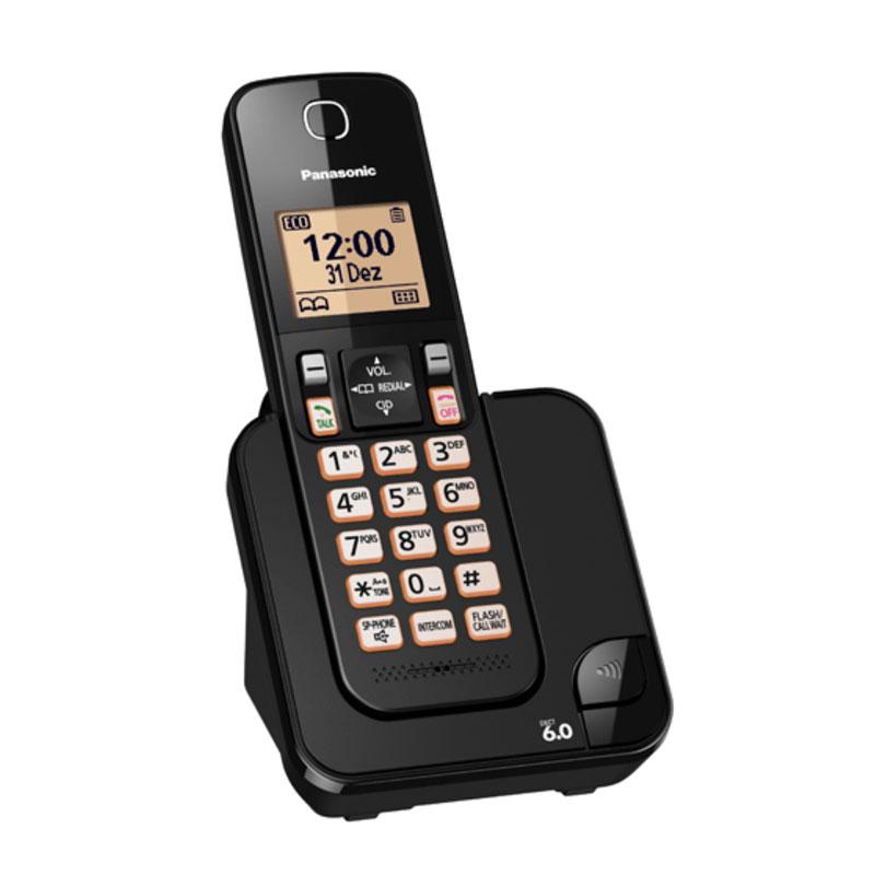 Telefone Sem Fio Panasonic KX-TGC350LBB c/ Viva Voz - Preto