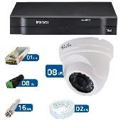 Kit CFTV 08 Câmeras Dome Infra HD 720p JL Protec + DVR Intelbras Multi HD + Acessórios