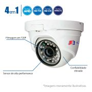 Câmera Dome HD 720p - 25 Metros, Lente 2,8mm, 4 em 1 FocusBras - HDTVI, HDCVI, AHD, Analógico