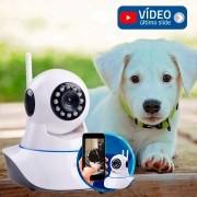 Câmera Pet IP Sem Fio Wifi HD 720p Robo Wireless, Com áudio, Grava em Cartão SD, Visão Noturna, para Cachorro e Gato