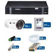 Kit de Câmeras de Segurança - DVR Intelbras 16 Ch G2 Tríbrido HDCVI + 16 Câmeras Infra VHD 3120B G2 HD 720p + HD WD Purple + Acessórios