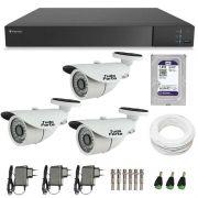 Kit de Câmeras de Segurança - DVR Stand Alone Tecvoz 04 Ch Flex 4 em 1 + 3  Câmeras Bullet Infravermelho 1000 Linhas Tudo Forte 2,8mm IP66 + HD WD Purple + Acessórios