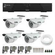 Kit de Câmeras de Segurança - DVR Tecvoz 4 Ch T1-LTVI04 + 4 Câmeras Bullet Infravermelho 1000 Linhas Tudo Forte 2,8mm IP66 + Acessórios