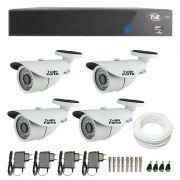 Kit de Câmeras de Segurança - DVR TVZ Security 4 Ch AHD M + 4 Câmeras Bullet Infravermelho 1000 Linhas Tudo Forte 2,8mm IP66 + Acessórios