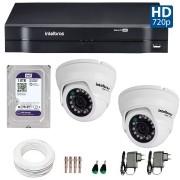 Kit 02 Câmeras de Segurança Dome HD 720p Intelbras VMD 1010G3 + HD para Gravação 1TB + DVR Intelbras Multi HD + Acessórios