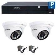 Kit 02 Câmeras de Segurança IP 1Mp HD 720p Intelbras VIP 1120 D + NVD 1108 Intelbras, NVR, HVR