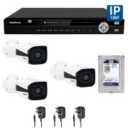 Kit 03 Câmeras de Segurança IP 1Mp HD 720p Intelbras VIP 1120 B + NVD 1108 Intelbras, NVR, HVR + HD WD Purple 1TB