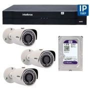 Kit 03 Câmeras de Segurança IP 1Mp HD 720p Intelbras VIP S 3020 G2 + NVD 1108 Intelbras, NVR, HVR + HD WD Purple 1TB