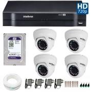 Kit 04 Câmeras de Segurança Dome HD 720p Intelbras VMD 1010G3 + HD para Gravação 1TB + DVR Intelbras Multi HD + Acessórios