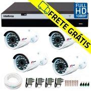 Kit Full HD DVR Intelbras 1080p + 04 Câmeras de Segurança Full HD 1080p Focusbras FS-MDF2M + Acessórios