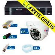 Kit 06 Câmeras de Segurança Dome HD 720p Focusbras + DVR Intelbras Multi HD + Acessórios