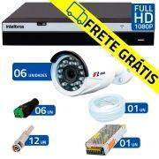 Kit Full HD DVR Intelbras 1080p + 06 Câmeras de Segurança Full HD 1080p Focusbras FS-MDF2M + Acessórios