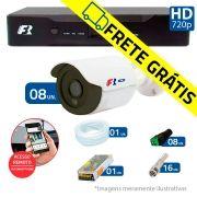 Kit 08 Câmeras de Segurança Bullet HD 720p Focusbras + DVR Focusbras + Acessórios