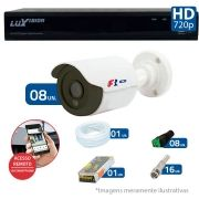 Kit 08 Câmeras de Segurança Bullet HD 720p Focusbras + DVR Luxvision All HD + Acessórios