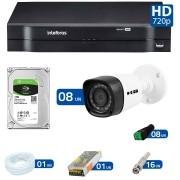 Kit 08 Câmeras de Segurança HD 720p HB Tech + DVR Intelbras Multi HD +  HD para Gravação 1TB + Acessórios