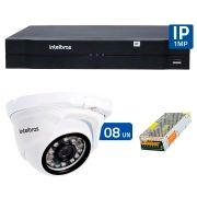 Kit 08 Câmeras de Segurança IP 1Mp HD 720p Intelbras VIP 1120 D + NVD 1108 Intelbras, NVR, HVR