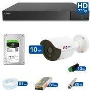 Kit 10 Câmeras de Segurança Bullet HD 720p Focusbras + DVR Flex Tecvoz + HD para Gravação 1TB + Acessórios
