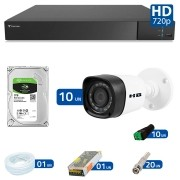 Kit 10 Câmeras de Segurança Bullet HD 720p HB Tech + DVR Flex Tecvoz + HD para Gravação 1TB + Acessórios
