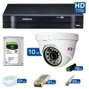 Kit 10 Câmeras de Segurança Dome HD 720p Focusbras + DVR Intelbras Multi HD + HD para Gravação 1TB + Acessórios