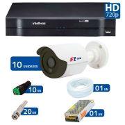 Kit 10 Câmeras de Segurança HD 720p Focusbras + DVR Intelbras Multi HD + Acessórios