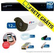 Kit 12 Câmeras de Segurança Bullet HD 720p Focusbras + DVR Luxvision All HD + Acessórios