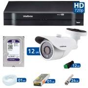 Kit 12 Câmeras de Segurança de Segurança HD 720p Intelbras VM 3120 IR G3 + DVR Intelbras Multi HD + HD para Gravação + Acessórios