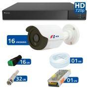 Kit 16 Câmeras de Segurança Bullet HD 720p Focusbras  + DVR Flex Tecvoz + Acessórios