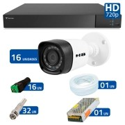 Kit 16 Câmeras de Segurança Bullet HD 720p HB Tech + DVR Flex Tecvoz + Acessórios